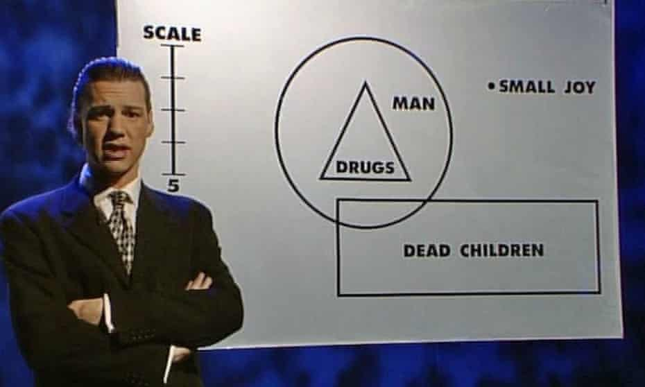 Chris Morris in Drugs, an episode of cult 'fake news' show Brass Eye.