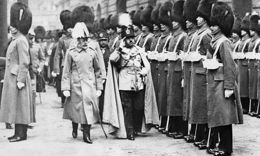King George V and King Amanullah Khan take the guard of honour, London, 1928.