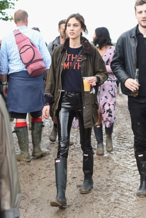 Always winning at festival style, Alexa Chung's 2016 PVC trousers looked great – and had the added bonus of being wipe-clean in the mud.