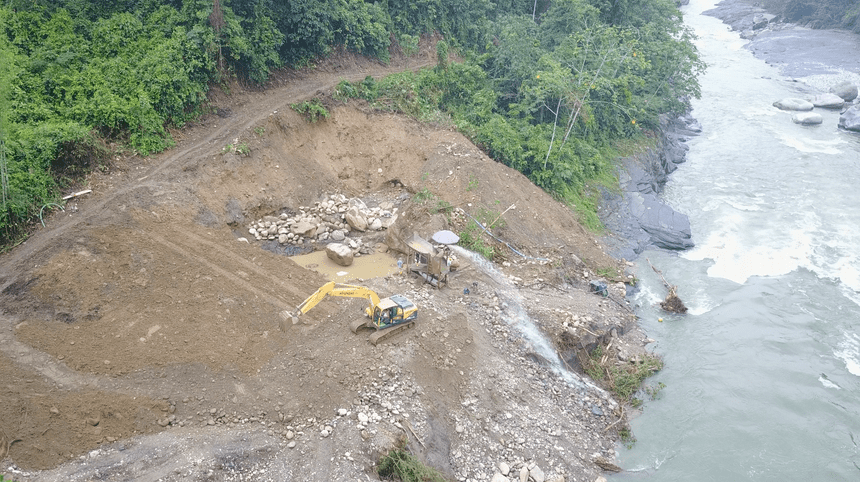 The mining site recently discovered by the A'I Cofan upriver from Sinangoe. Photograph: Nicolas Mainville/Amazon Frontlines