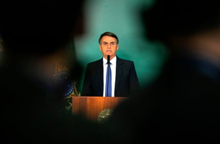 President Bolsonaro gives a statement in Brasilia on after the collapse of the dam near Brumadinho.