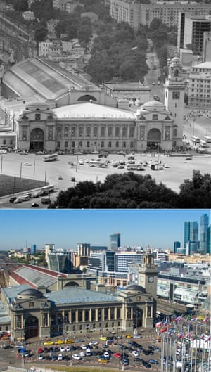 The Kiyevsky rail terminal and Kiyevsky rail terminal square in 1974 – the latter renamed the Square of Europe in 2015.  Moscow Russia