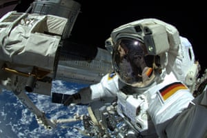 Talk about not wanting to drop the camera. In this handout photo provided by the European Space Agency, German astronaut Alexander Gerst takes a 'selfie' during his spacewalk, whilst aboard the International Space Station on October 7, 2014.