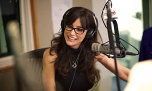 Lisa Ann records a live show on Sirus XM radio station.