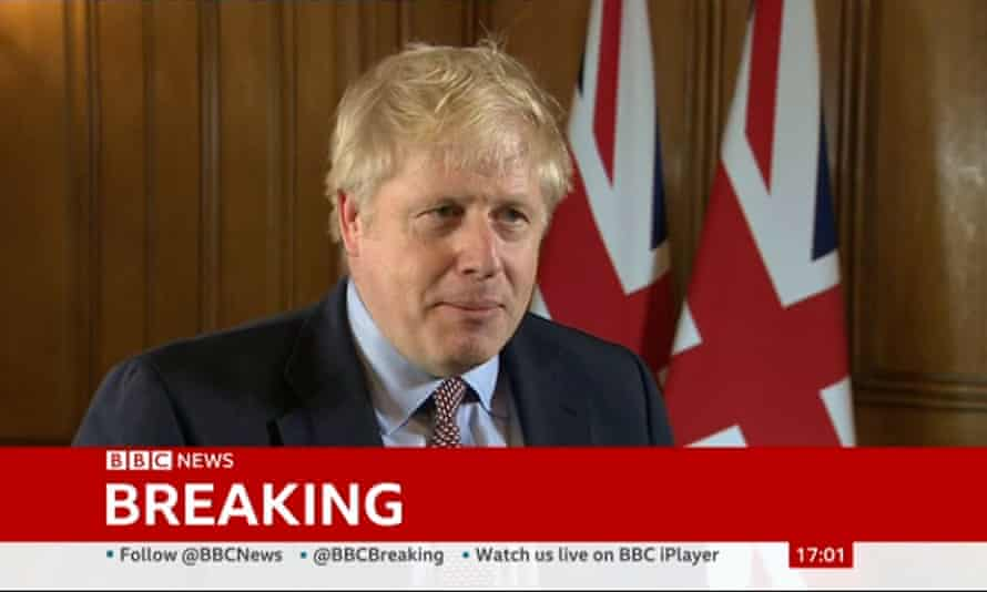 Boris Johnson pictured in a screengrab from BBC News.