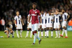 Aston Villa's Tammy Abraham walks to take his penalty in the shootout.