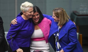 Crossbench senators celebrate the passing of the medevac bill in the House of Representatives.