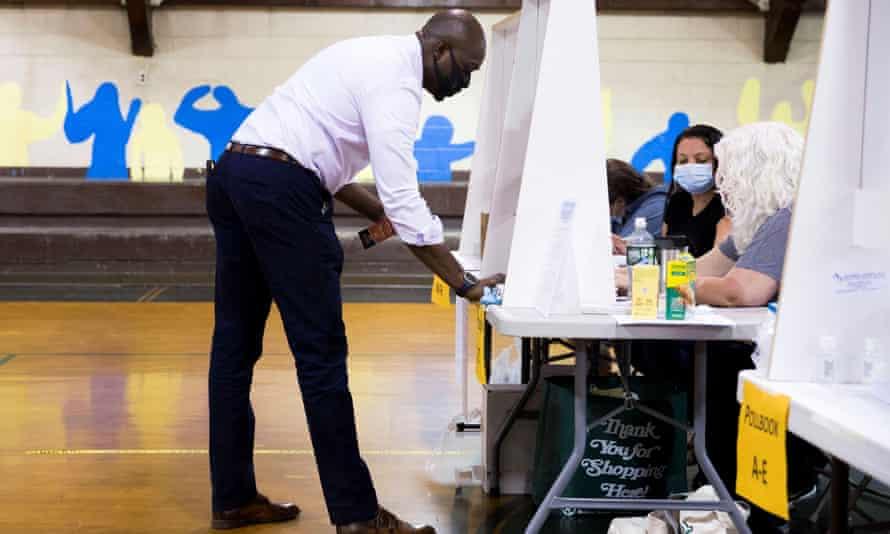 Voter Brian Taylor prepares to cast his ballot in the Democratic primary in Philadelphia, Pennsylvania Tuesday.