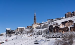 Bell tower and apartments at Les Menuires in the Trois Vallées, France.
