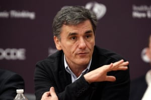 Greek deputy minister for international economic relations Euclid Tsakalotos gestures as he attends the annual conference of the Institute for New Economic Thinking (INET) at the Organisation for Economic Cooperation and Development (OECD) headquarters in Paris April 9, 2015. REUTERS/Charles Platiau