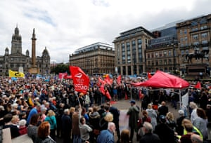 Anti-Brexit protesters demonstrate at George Square in Glasgow, Scotland