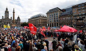 Anti-Brexit protesters demonstrate at George Square in Glasgow