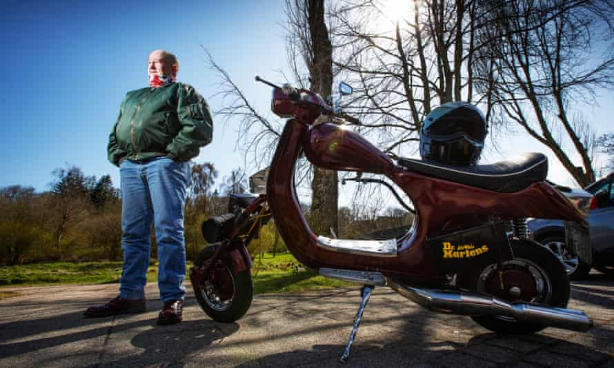 Russell Mackay with his Vespa scooter in Ellon