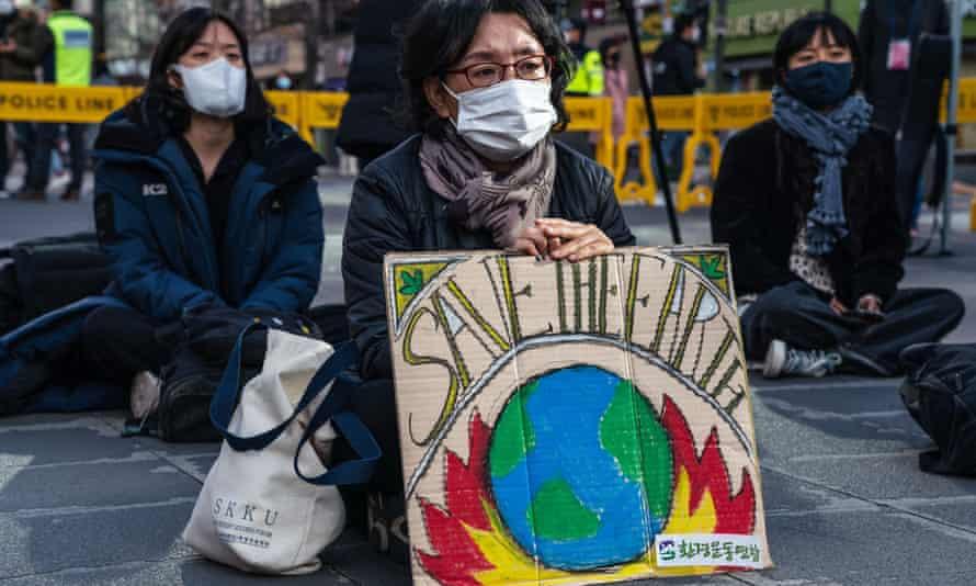 Climate crisis protesters in Seoul, South Korea, on 21 November 2020.