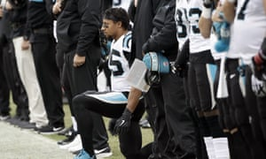 Eric Reid takes a knee during anthem last season.