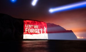 Projected image on the White Cliffs of Dover to mark the 100th anniversary of the Battle of the Somme, and to help launch a scheme to support Armed Forces veterans.
