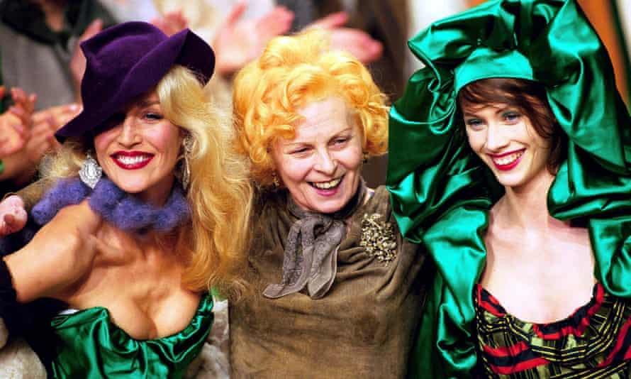 Vivienne Westwood (centre) ... her 'choose well and buy less' advice isn't so simple. Photograph: Steve Wood/Rex Features