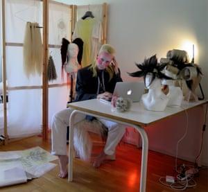 Fashion student Sissel Kärneskog in their home studio