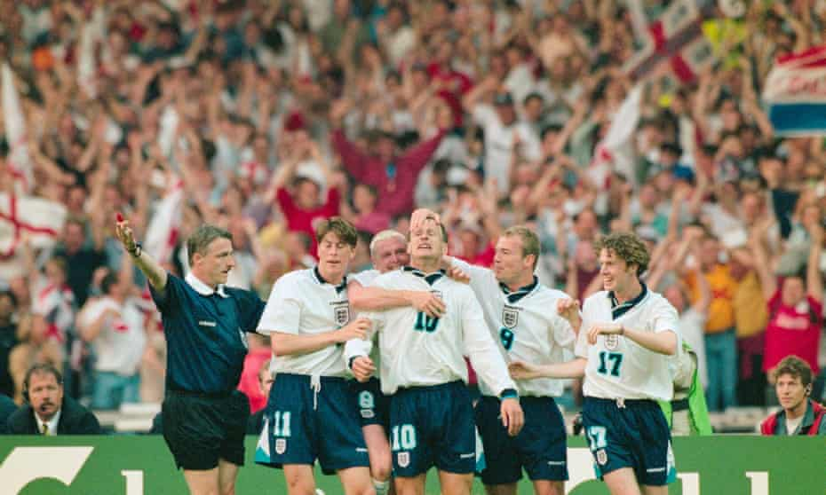 Darren Anderton, Paul Gascoigne, Teddy Sheringham and Alan Shearer after Sheringham scored during England's 4-1 win over the Netherlands at Wembley, their finest performance of Euro 96.