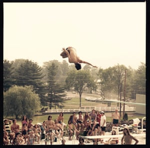A freestyle diver in mid-air