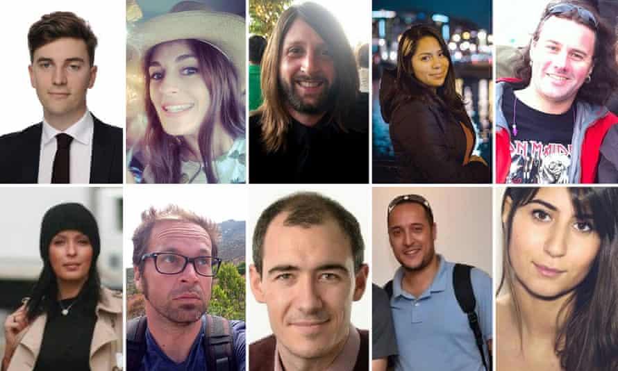 Some of the reported victims. Top row (L-R) followed by bottom row (L-R): Valentin Ribet; Caroline Prénat; Nick Alexander; Nohemi Gonzalez; Guillaume B. Decherf; Djamila Houd; Mathieu Hoche; Alberto González Garrido; Kheireddine Sahbi; Elif Doğan.