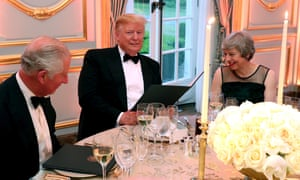 Trump at Winfield House in London in June last year with Theresa May and Prince Charles for a dinner held as part of his state visit.