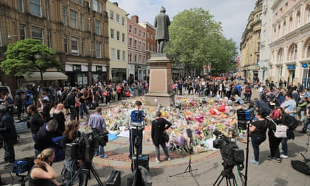 Floral tributes in St Ann's Square, near Manchester Arena.