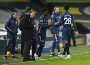 Saka comes on as a substitute to replace Willock