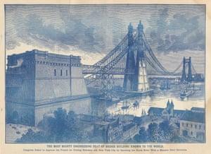 North River Bridge, Gustav Lindenthal, 1887