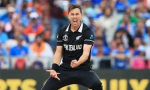 New Zealand's Trent Boult celebrates the dismissal of Virat Kohli in the World Cup semi-final.