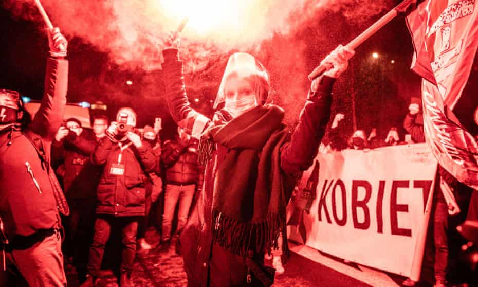 Protesters on the streets of Warsaw after the imposition of a near-total ban on abortion in January.