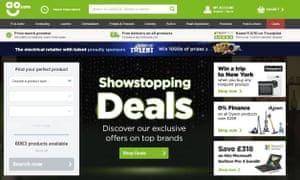 The home page of electrical retailer AO.com.