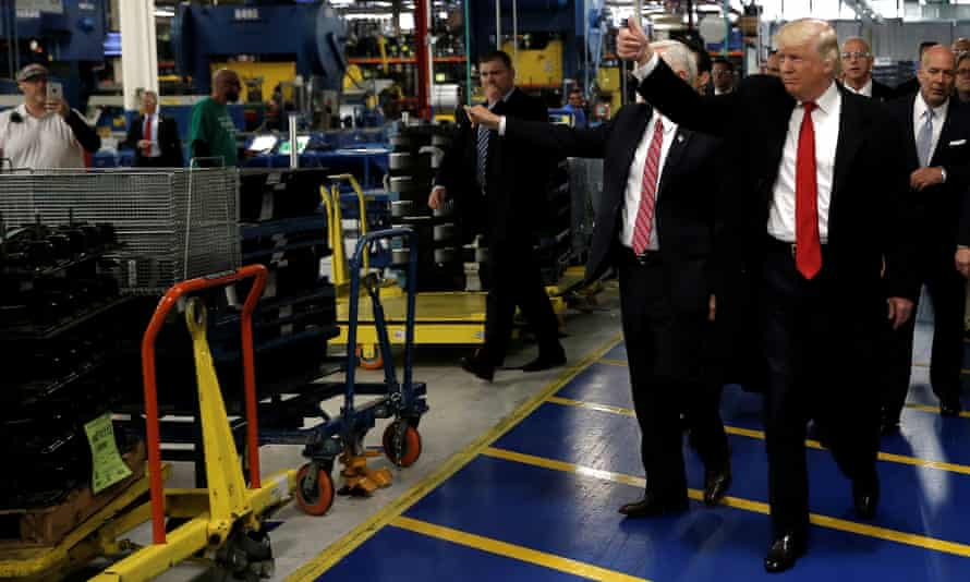 President-elect Donald Trump and vice-president elect Mike Pence tour a Carrier factory in Indianapolis, Indiana, on 1 December.