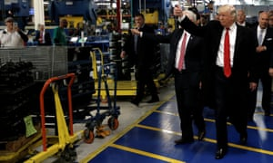 'Hardworking Americans.' US president-elect Donald Trump visits a factory in Indianapolis, 2016.
