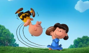 Lucy pulls the football away from Charlie Brown in The Peanuts Movie, in U.S. theaters Nov. 6, 2015.