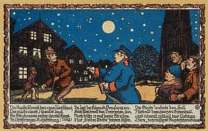 The reverse side of a beautifully designed Notgeld note from Oelde, Westphalia, 1921, showing a policeman talking to townspeople under a moonlit starry sky.