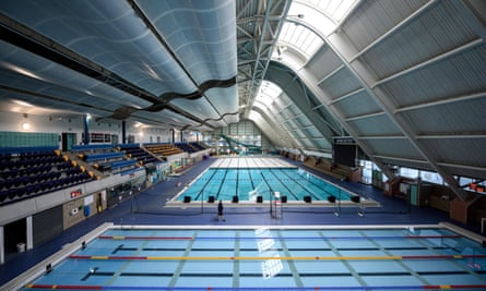 The main swimming pool hall of Manchester Aquatics Centre, which remains closed to the public because of Covid-19 lockdown restrictions.