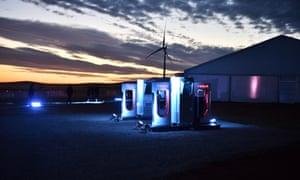 A Tesla car charging station at Jamestown, South Australia.