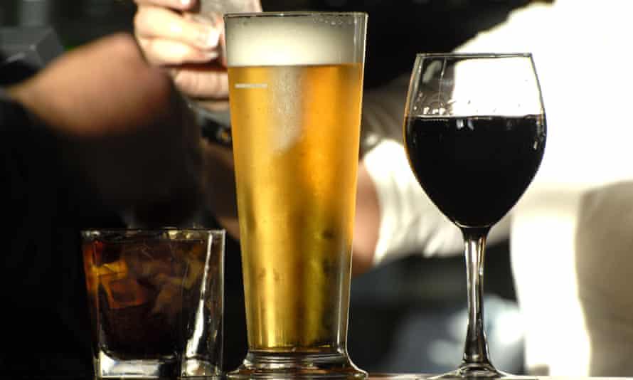 Drinks on a pub bar