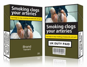 Standardised cigarette packaging.
