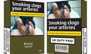 Under the EU directive, all tobacco packaging will be uniformly green with large images showing the harmful effects of smoking