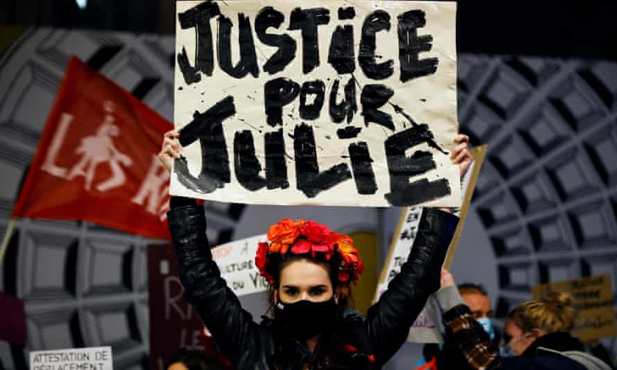 Protests in November last year after a French court rejected an appeal to classify the attacks on 'Julie' as rape
