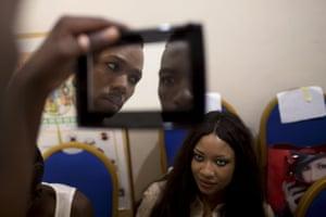 Models getting ready before the Festi'Bazin runway show