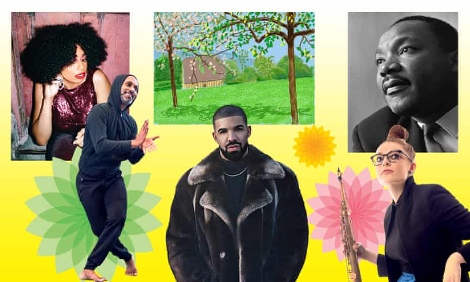 L-r: singer-songwriter Celeste, dancer and choreographer Akram Khan, David Hockney's No 241, 23rd April 2020, rapper Drake, Martin Luther King and saxophonist Jess Gillam.