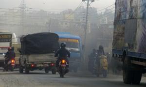 A heavily polluted road in Kathmandu