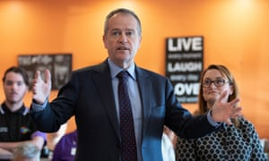 The opposition leader, Bill Shorten, campaigning in Braddon with the Labor candidate, Justine Keay