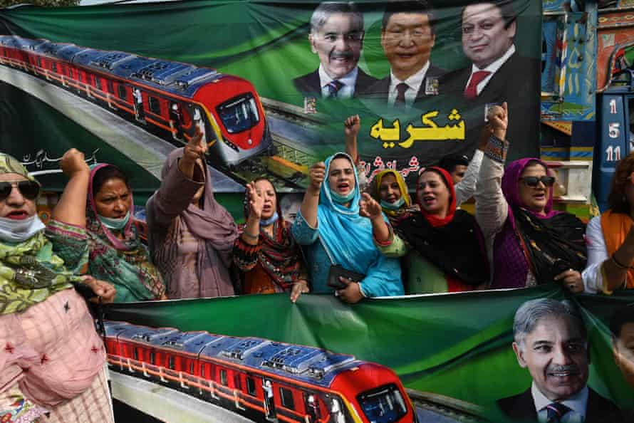 Supporters of the Pakistan Muslim League-Nawaz (PML-N) party at the opening of the Orange Line.
