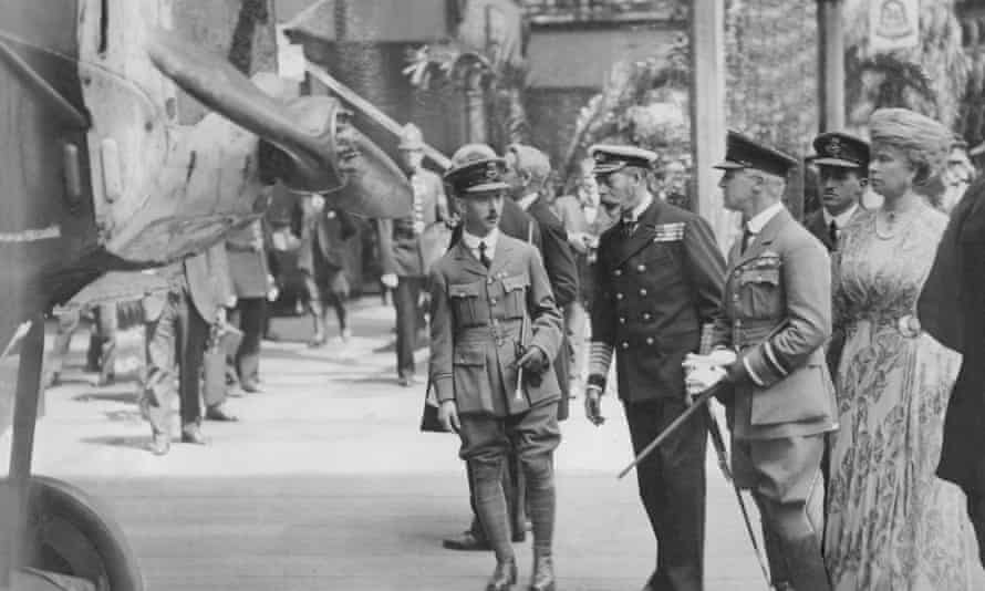 King George V And Queen Mary inspecting a German Fokker aeroplane at the Imperial War Museum, Crystal Palace, London, 1920.