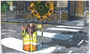Martin Rowson cartoon, 16/05/20: Gavin Williamson as lollipop man, with coronavirus on a stick, beckoning