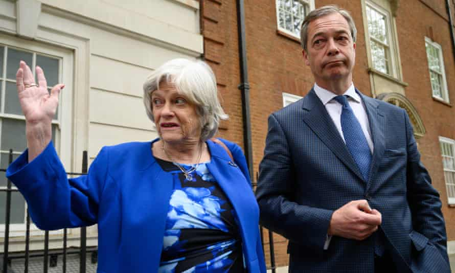 Ann Widdecombe joins Nigel Farage for a presscall after her defection to the latter's Brexit party.